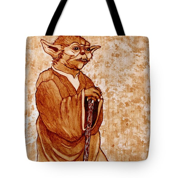 Tote Bag featuring the painting Yoda Wisdom Original Coffee Painting by Georgeta Blanaru