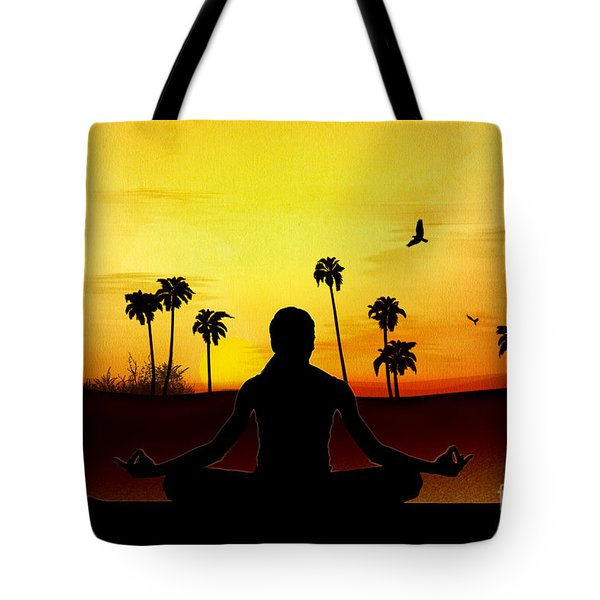Yoga At Sunrise Tote Bag by Bedros Awak