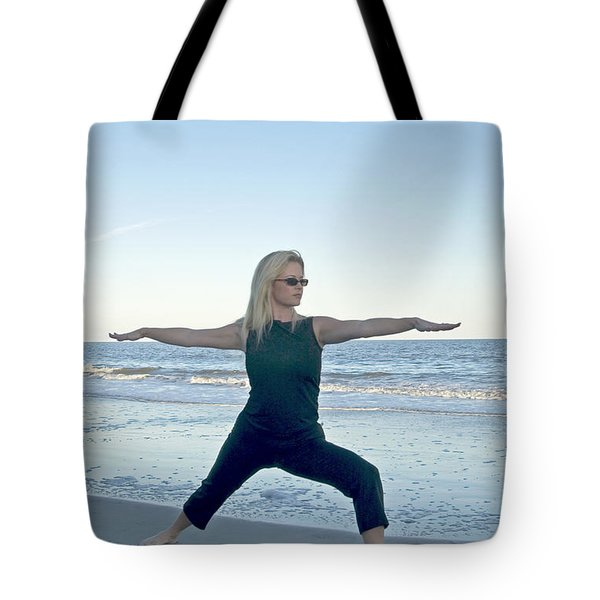Yoga Woman On The Beach Tote Bag