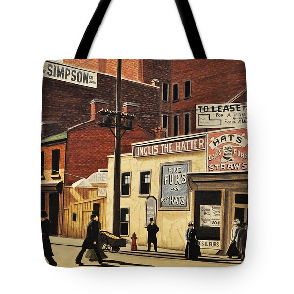 Tote Bag featuring the painting Yonge And Richmond Streets 1899 by Kenneth M  Kirsch