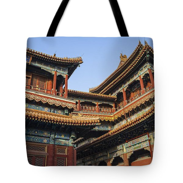Tote Bag featuring the photograph Yonghe Temple Aka Lama Temple In China by Bryan Mullennix