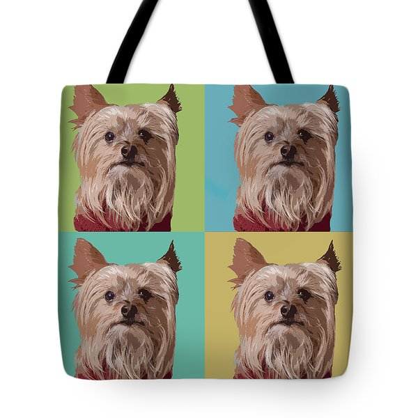 Yorkie Times Four Tote Bag