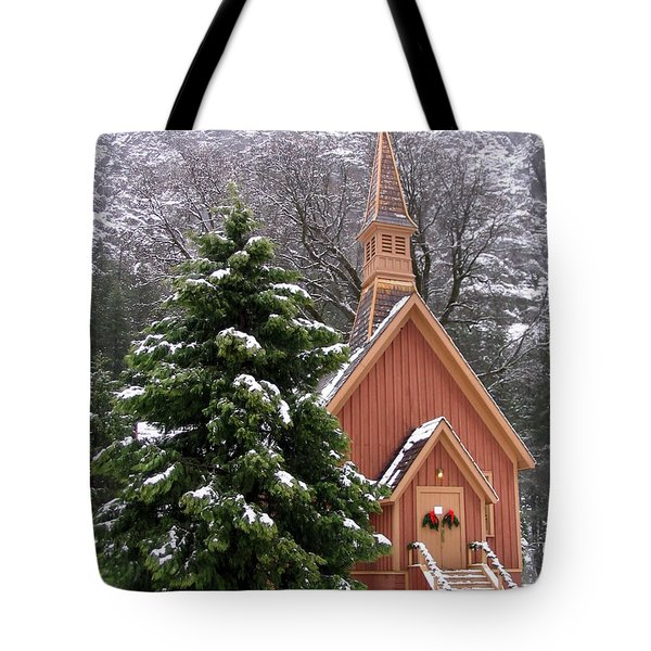 Tote Bag featuring the photograph Yosemite Chapel In Winter by Kevin Desrosiers