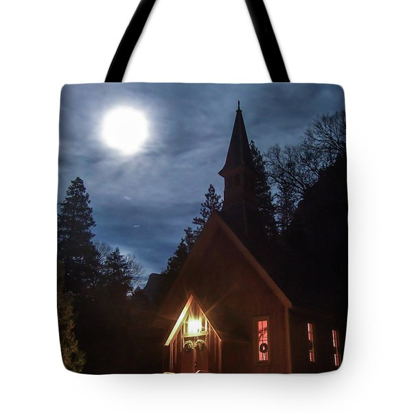 Yosemite Chapel Under A Full Moon Tote Bag