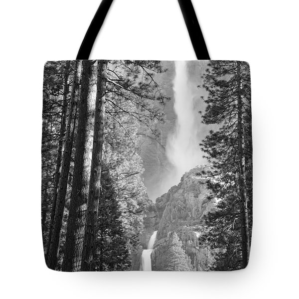 Yosemite Falls Black And White Tote Bag by Bruce Gourley