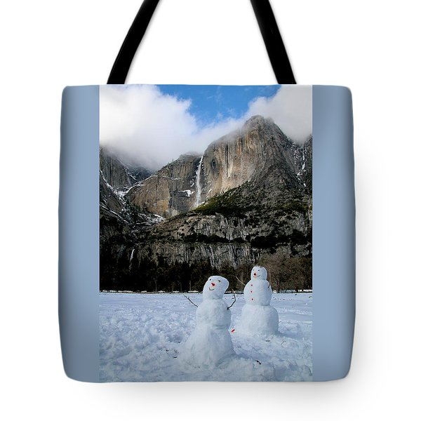 Yosemite Falls Snowmen Tote Bag