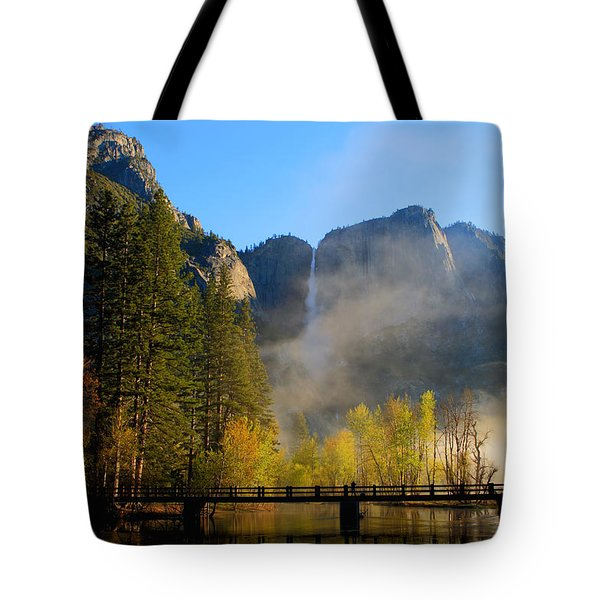 Yosemite River Mist Tote Bag