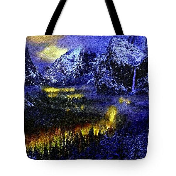 Yosemite Valley At Night Tote Bag by Bob and Nadine Johnston