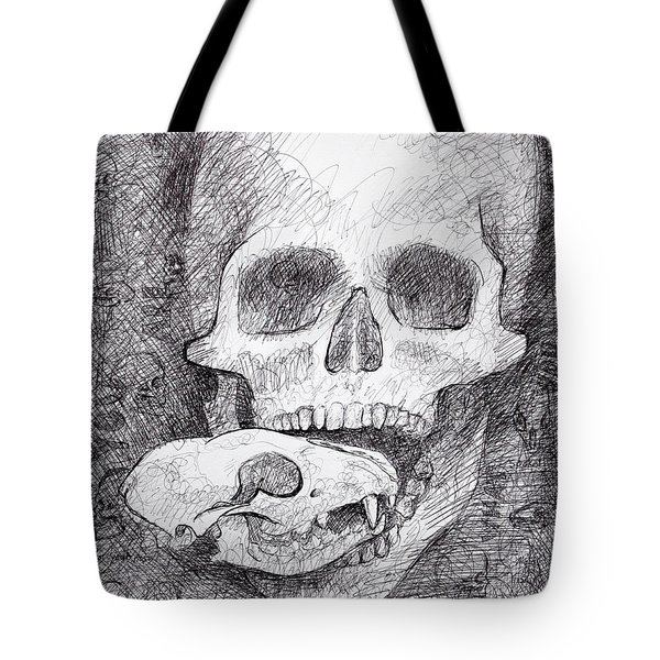 You Are What You Eat Skull Drawing Tote Bag by Adam Long