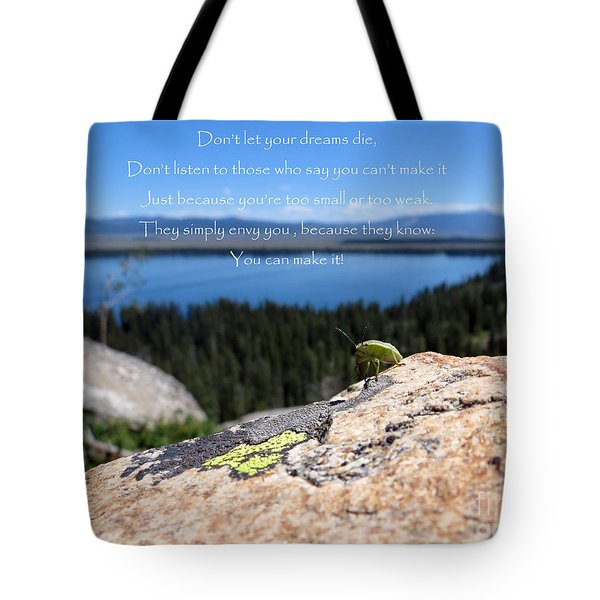 Tote Bag featuring the photograph You Can Make It. Inspiration Point by Ausra Huntington nee Paulauskaite