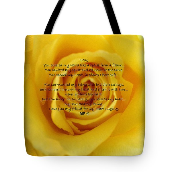 You Poem On Yellow Rose Tote Bag