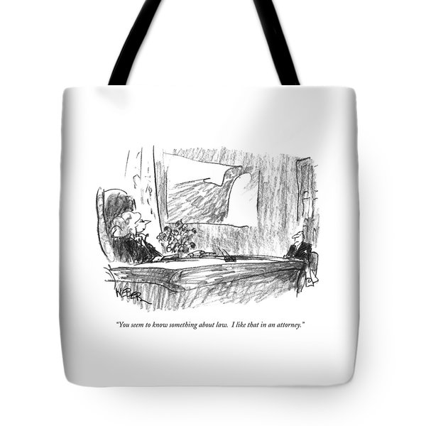 You Seem To Know Something About Law.  I Like Tote Bag