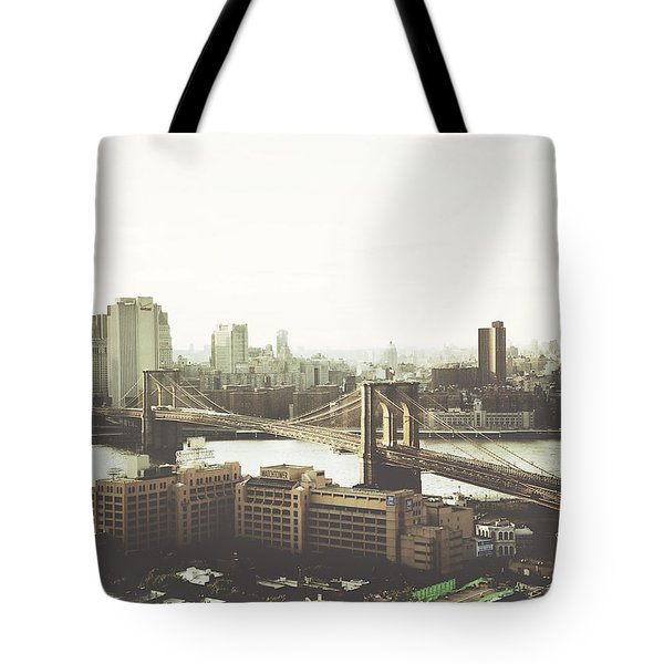 You'll Miss Her Most When You Roam ... Cause You'll Think Of Her And Think Of Home ... The Good Old Brooklyn Bridge Tote Bag