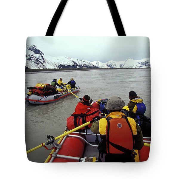 Young Adults Rafting On Alsek River Tote Bag