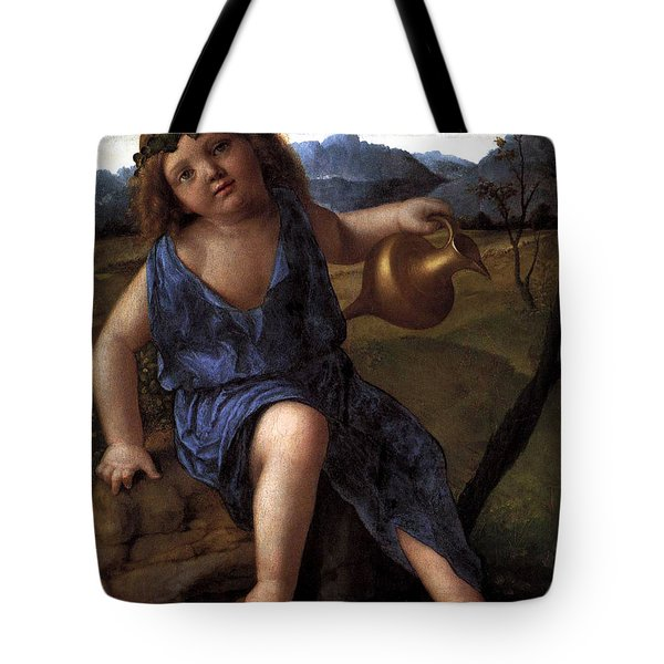 Tote Bag featuring the painting Young Bacchus Dionysus Giovanni Bellini 1514 by Karon Melillo DeVega