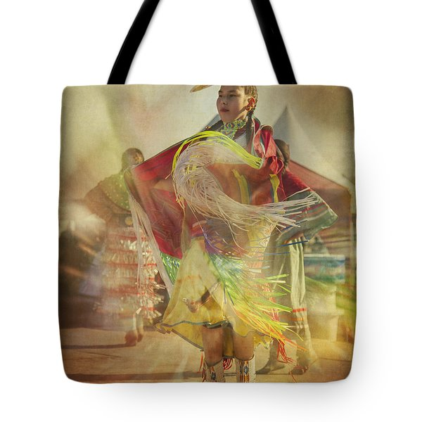 Young Canadian Aboriginal Dancer Tote Bag