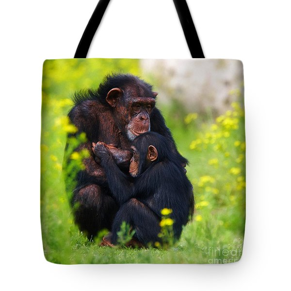 Young Chimpanzee With Adult - II Tote Bag