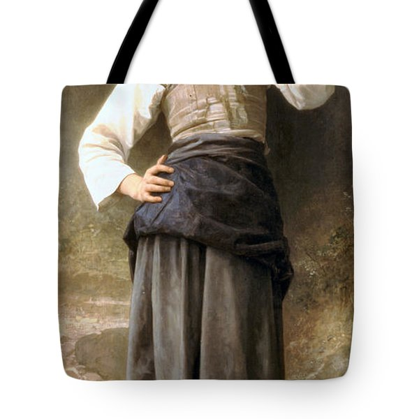Young Girl Going To The Fountain Tote Bag by William Bouguereau