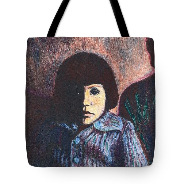 Young Girl In Blue Sweater Tote Bag by Kendall Kessler