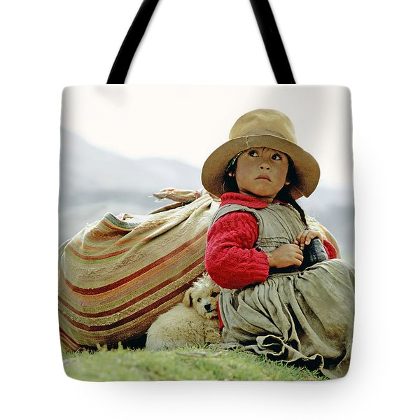 Young Girl In Peru Tote Bag