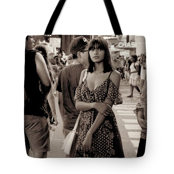 Girl With Red Dress - Times Square Tote Bag by Miriam Danar