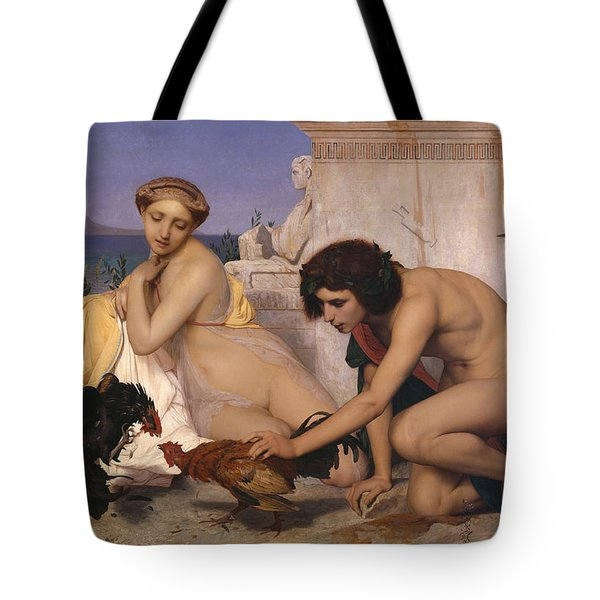 Young Greeks Attending A Cock Fight Tote Bag by Jean Leon Gerome