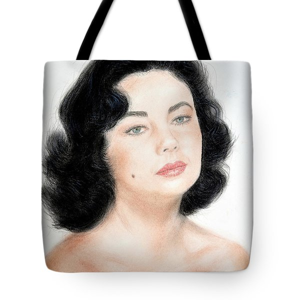 Young Liz Taylor Portrait Remake Tote Bag
