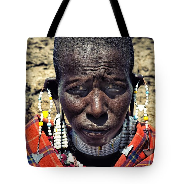Tote Bag featuring the photograph Portrait Of Young Maasai Woman At Ngorongoro Conservation Tanzania by Amyn Nasser