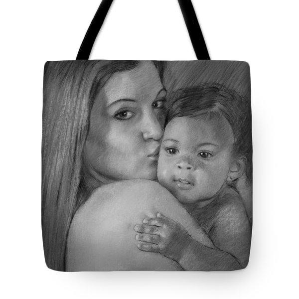 Tote Bag featuring the drawing Young Mother With Her Baby by Viola El