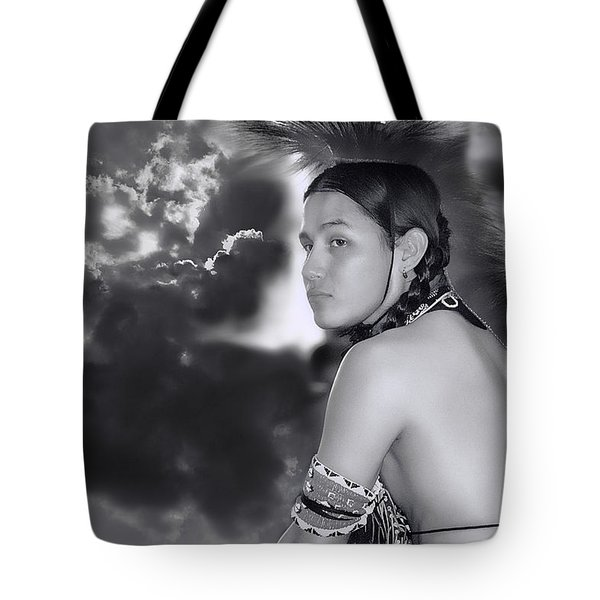 Young Native American Bw  Tote Bag by Dyle   Warren