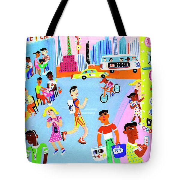 Young People Using Mobile Technology Tote Bag