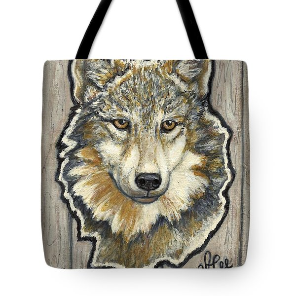 Tote Bag featuring the painting Young Wolf by VLee Watson