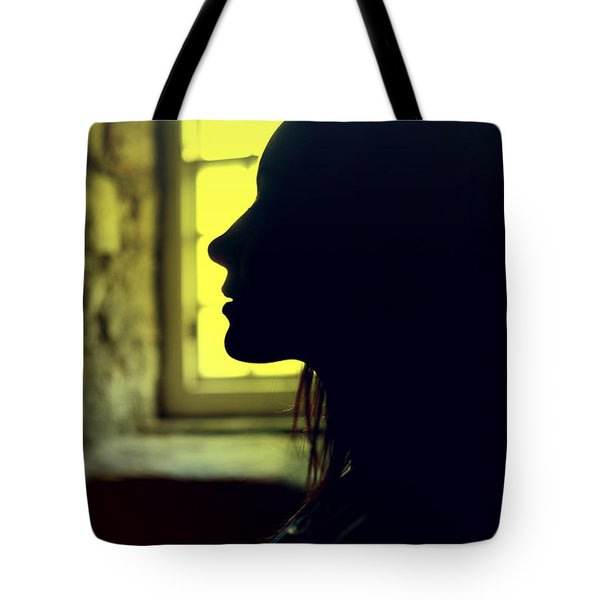 Young Woman Silhouetted Profile Tote Bag
