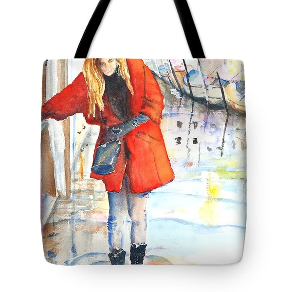 Young Woman Walking Along Venice Italy Canal Tote Bag