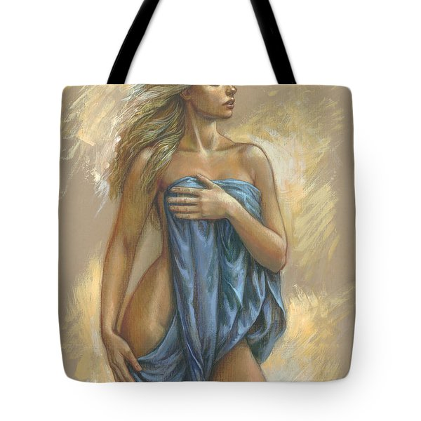 Young Woman With Blue Drape Tote Bag by Zorina Baldescu