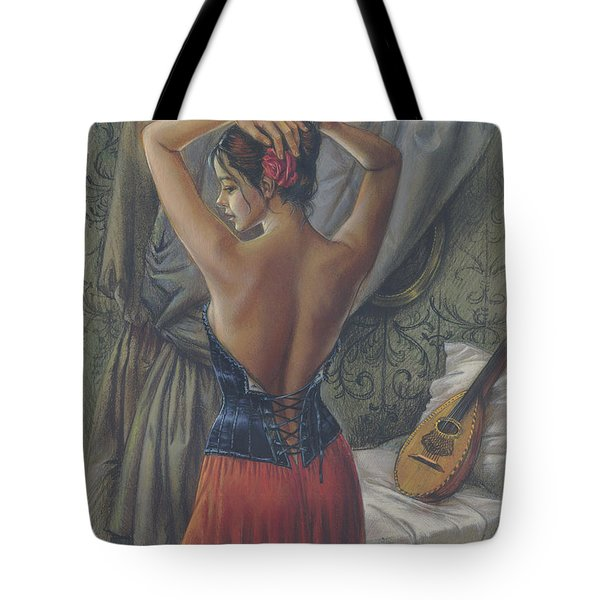 Young Woman With Luth Tote Bag by Zorina Baldescu