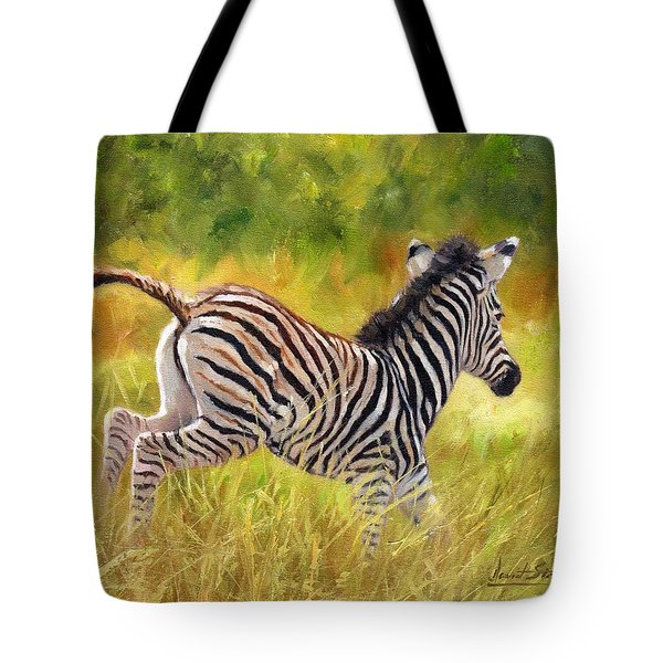 Young Zebra Tote Bag by David Stribbling