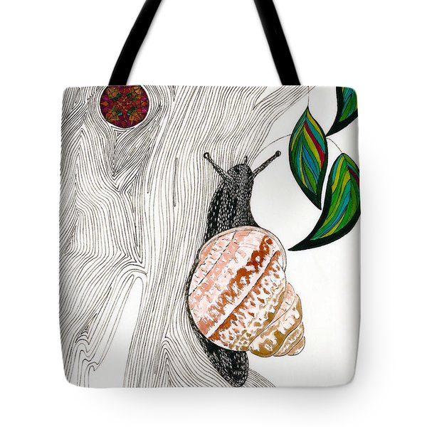 Tote Bag featuring the drawing Your Garden Snail by Dianne Levy
