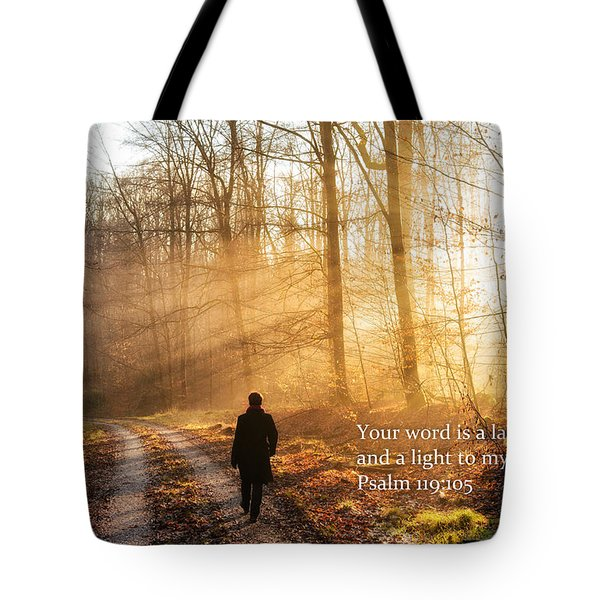 Your Word Is A Light To My Path Bible Verse Quote Tote Bag by Matthias Hauser