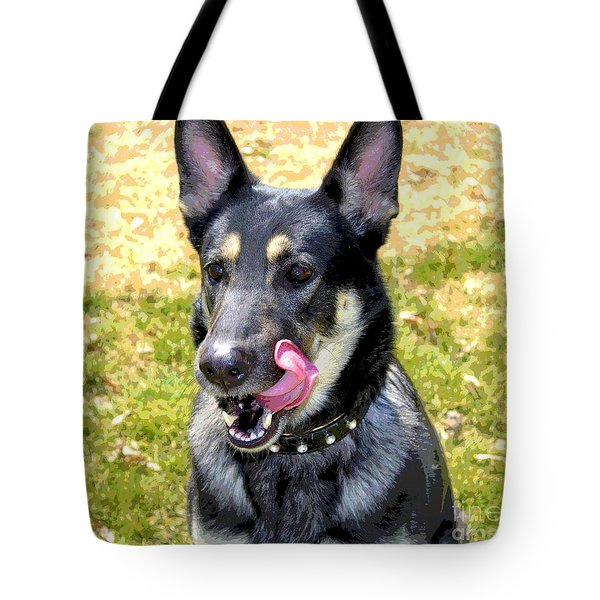 Tote Bag featuring the photograph German Shepherd - Yum - Luther Fine Art by Luther Fine Art