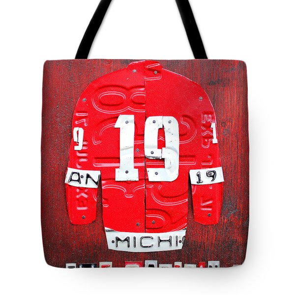Yzerman The Captain Red Wings Hockey Jersey License Plate Art Tote Bag by Design Turnpike