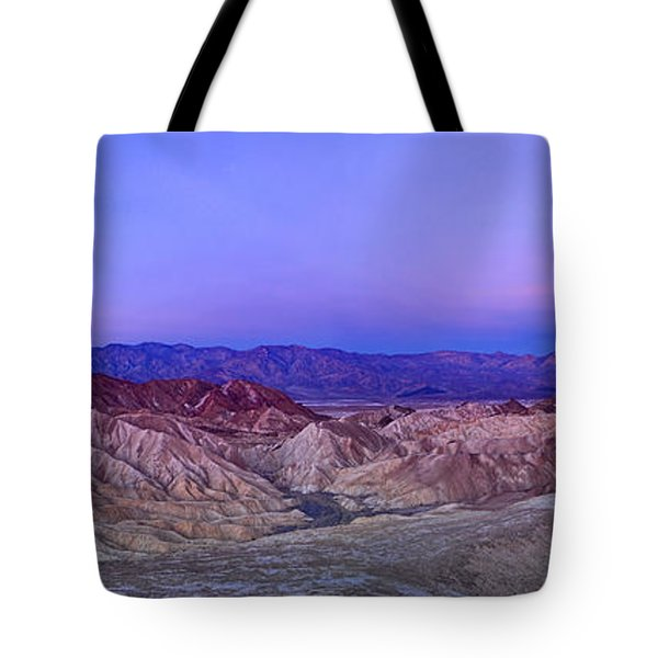 Zabriskie Sunrise Panorama - Death Valley National Park. Tote Bag