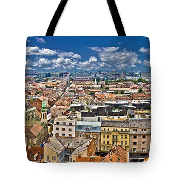 Zagreb Lower Town Colorful Panoramic View Tote Bag by Brch Photography