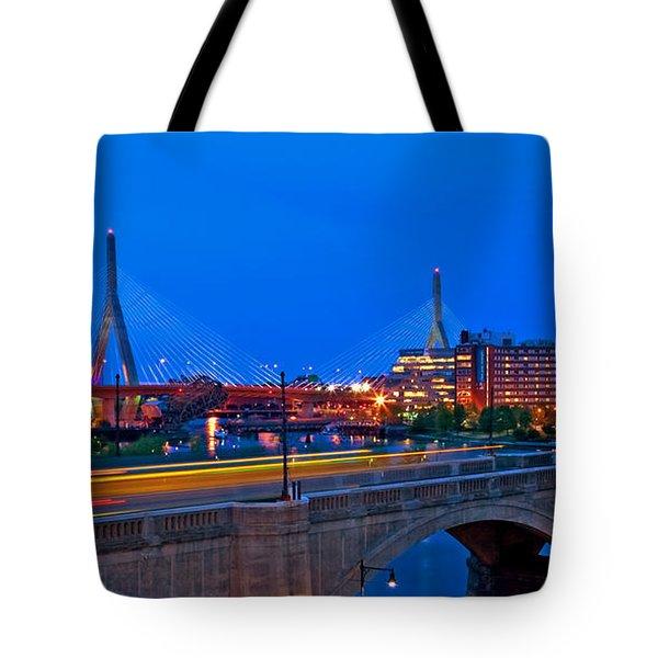 Zakim Bridge At Twilight Tote Bag by Joann Vitali