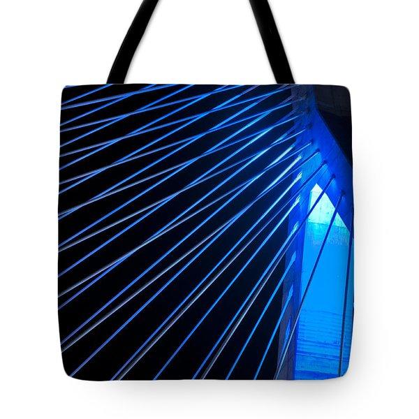 Zakim In Blue - Boston Tote Bag by Joann Vitali