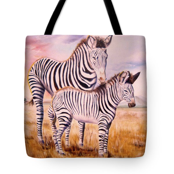 Zebra And Foal Tote Bag