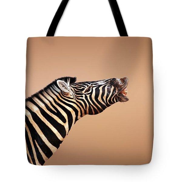 Zebra Calling Tote Bag by Johan Swanepoel