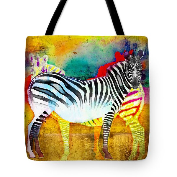 Zebra Colors Of Africa Tote Bag by Barbara Chichester