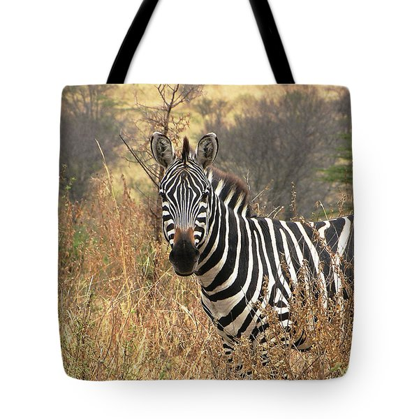 Tote Bag featuring the photograph Zebra In Serengeti by Nature and Wildlife Photography
