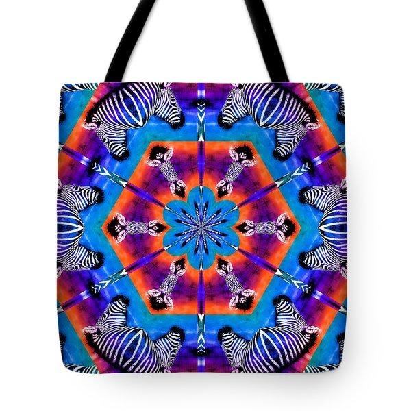 Zebra Kaleidoscope Tote Bag by Elizabeth Budd